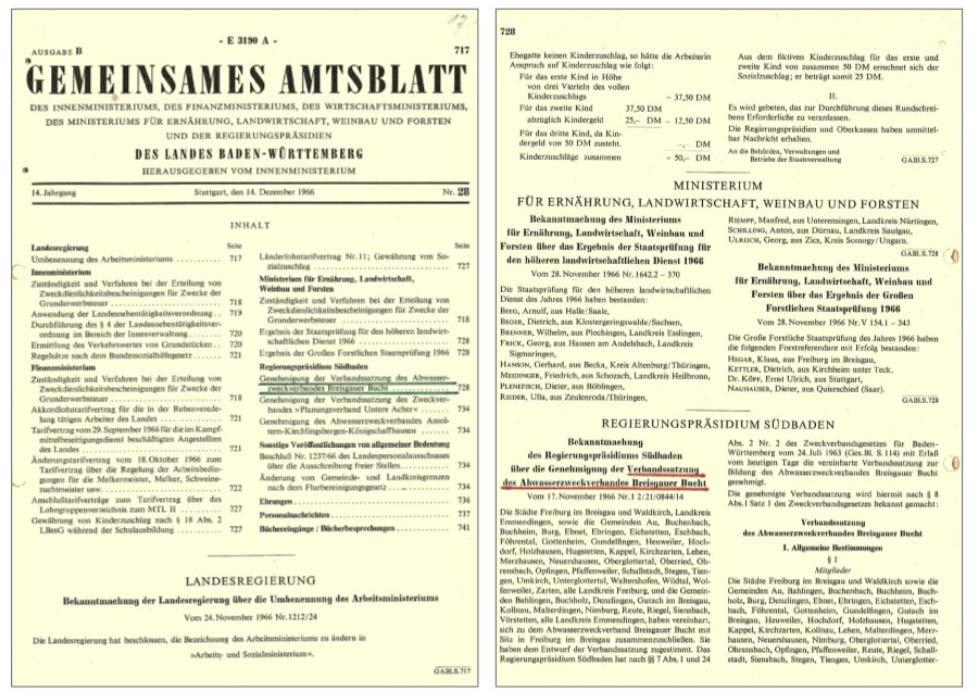 Amtsblatt der Landes Baden-Würtemberg 14.09.1966